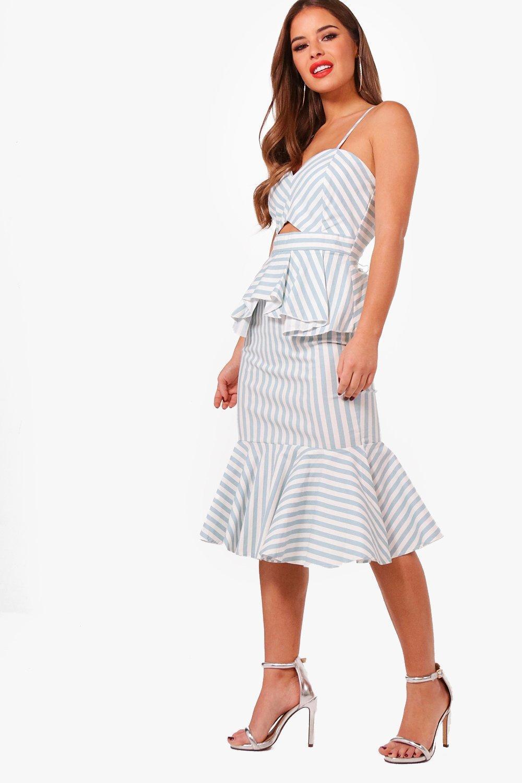 01cf9a2c214 Boohoo Petite Stripe Cut Out Peplum Dress in Blue - Lyst