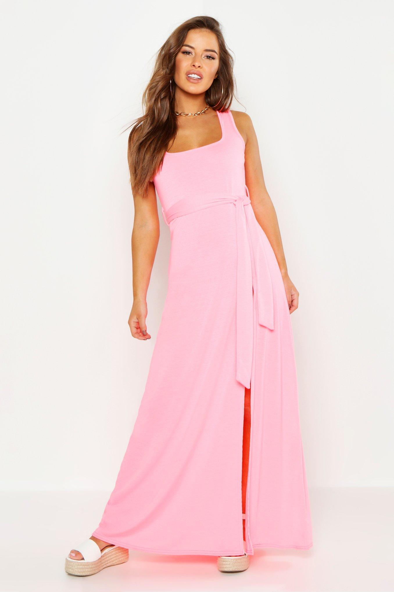36110a9965810 Boohoo Petite Neon Square Neck Beach Dress in Pink - Lyst