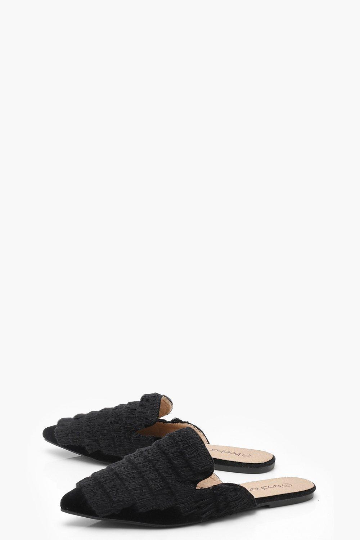 fbead580caba Boohoo Tassel Fringe Pointed Mule Flats in Black - Lyst