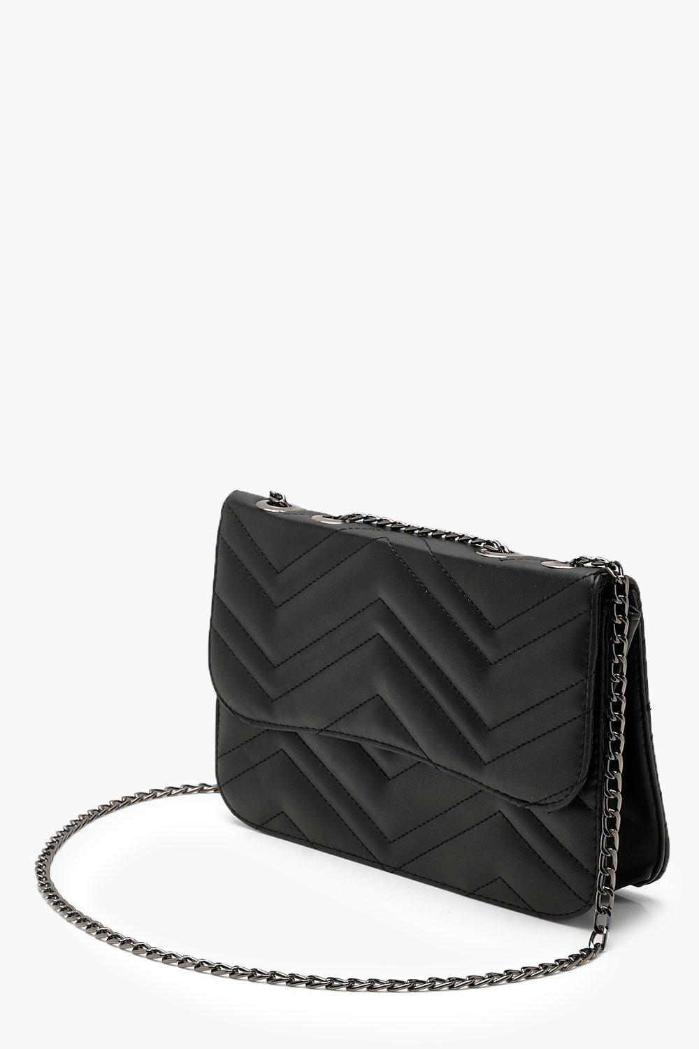 351122f1323c Lyst - Boohoo Zig Zag Quilted Pu Chain Strap Cross Body in Black