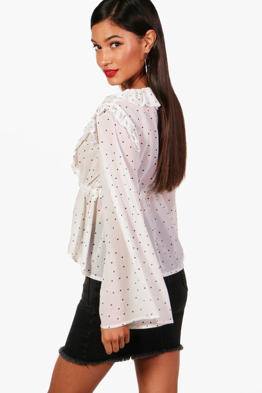 8a6157b3b68 Boohoo - White Emily Spot Print Ruffle Tie Front Blouse - Lyst. View  fullscreen