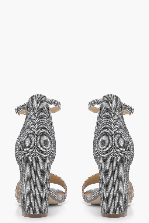 603fa9c34102 Boohoo Harriet Shimmer Block Heels in Metallic - Lyst