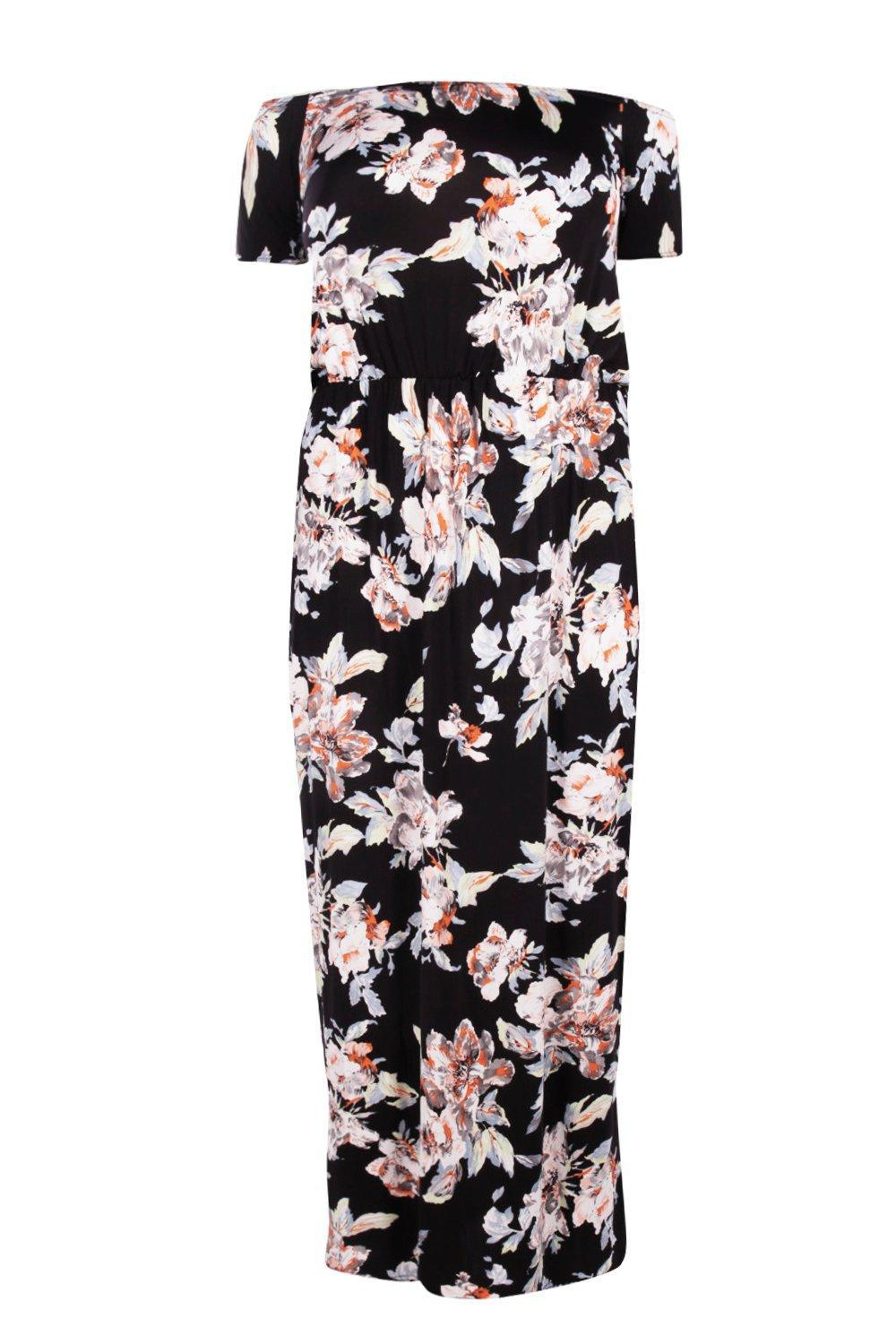 Boohoo Synthetic Plus Delilah Floral Bandeau Maxi Dress
