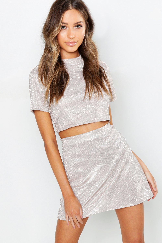 342856e6b26884 Boohoo Multicolor Petite Glitter Sparkle A-line Mini Skirt