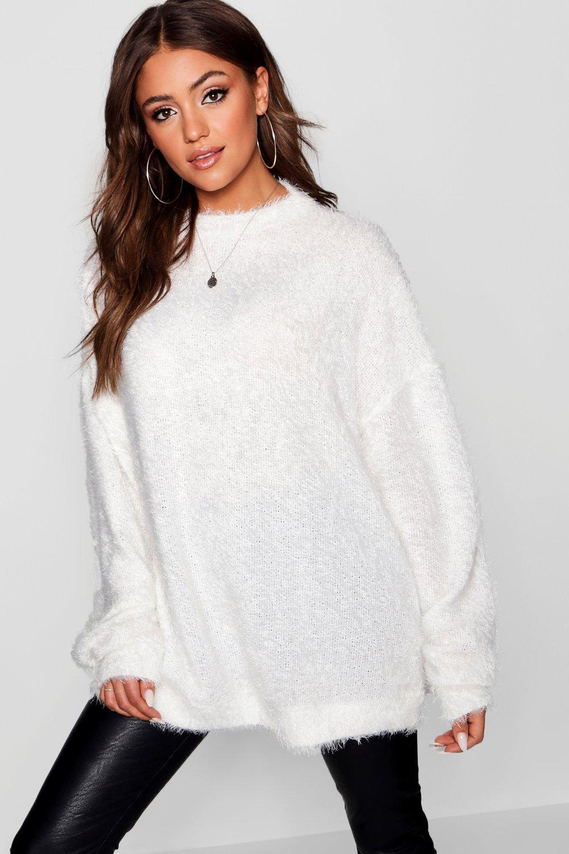 Boohoo. Women s Oversized Fluffy Knit Boyfriend Jumper f0269b2df