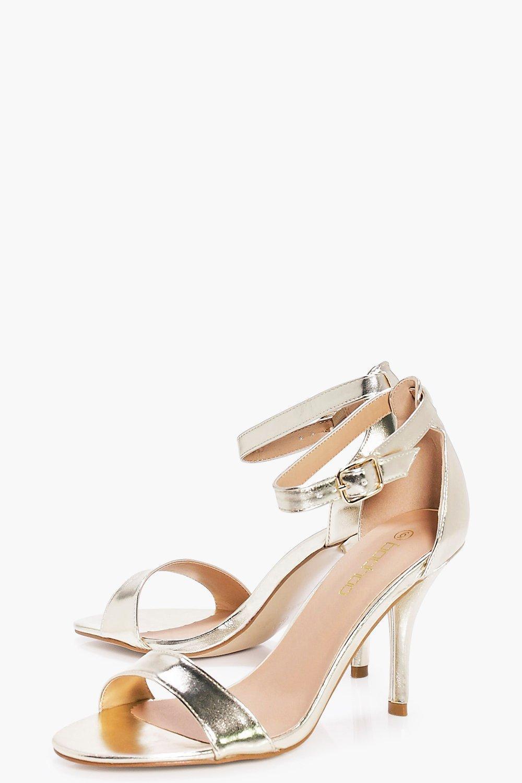 9ee10f7fe4c6 Boohoo Frances Wide Fit Low Heel Two Part in Metallic - Save 13% - Lyst