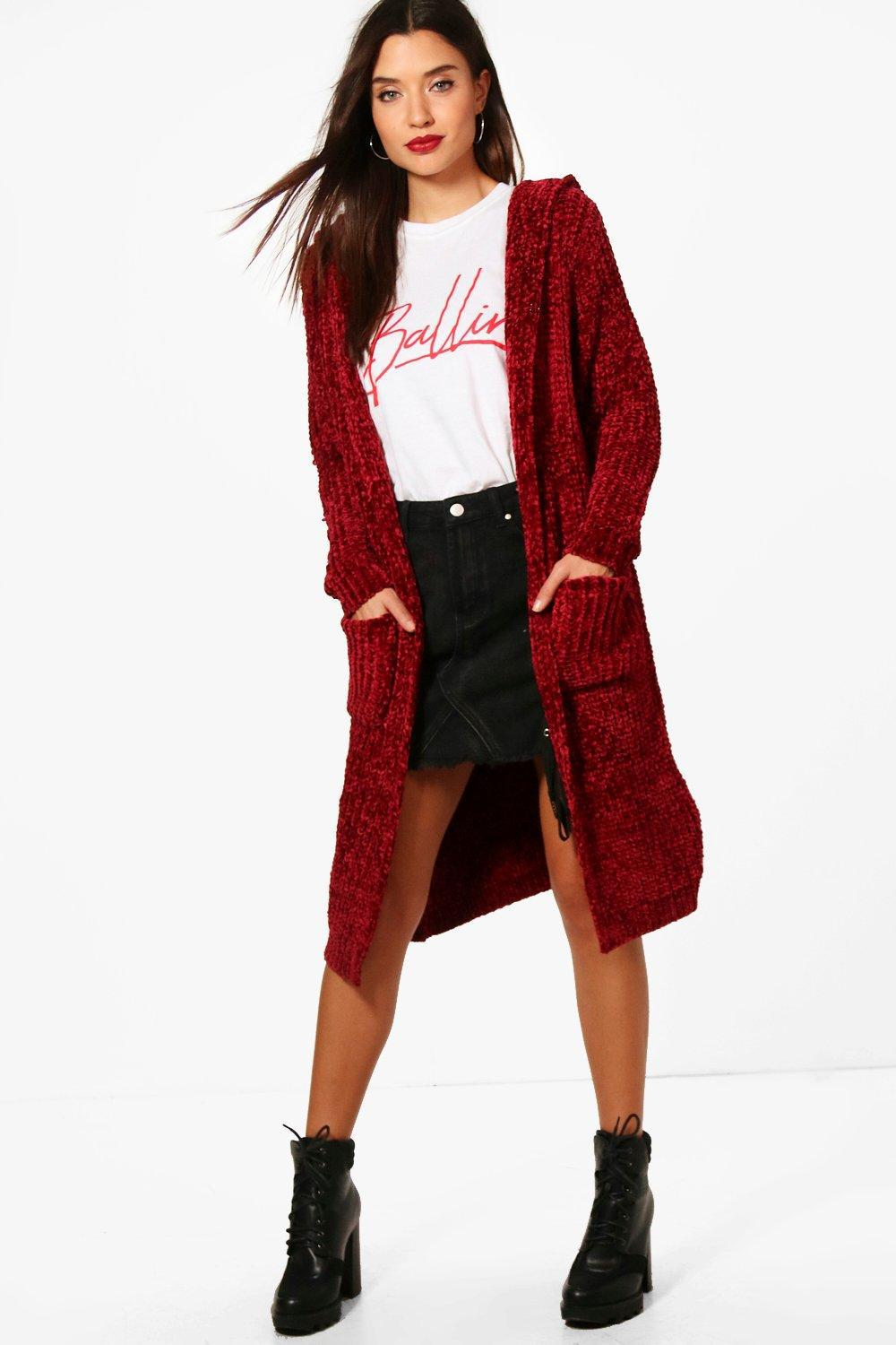 Boohoo Gabbie Chenille Hooded Cardigan in Red | Lyst