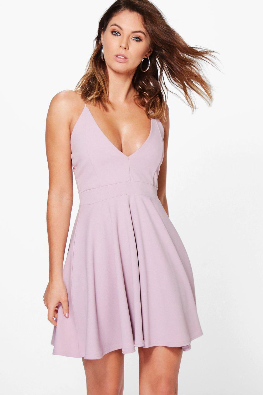 d05eb6e5c4 Lyst - Boohoo Strappy Plunge Neck Skater Dress in Purple