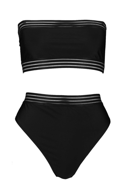 830f818e139e2 Boohoo - Black Cape Verde Mesh Detail Bandeau High Waisted Bikini - Lyst.  View fullscreen