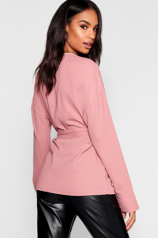 70bd6cd1be14c1 Boohoo - Pink Tall Wrap Tie Waist Blouse - Lyst. View fullscreen