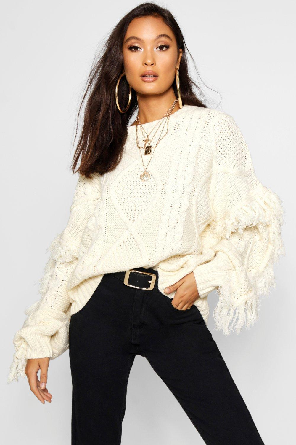 9482e75c6940e Boohoo Cable Fringe Knit Jumper in Natural - Lyst
