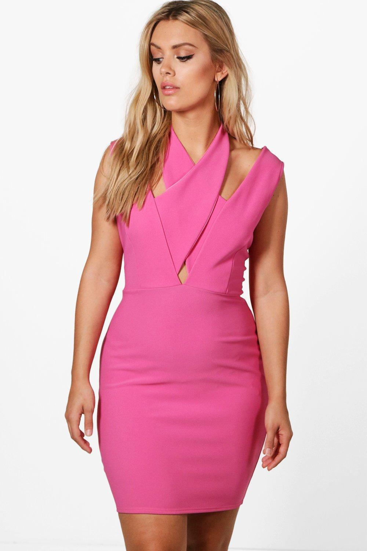 a72367bd203 Boohoo Plus Emily Halterneck Strap Detail Bodycon Dress in Pink - Lyst