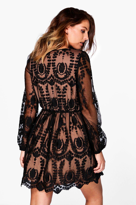 Boutique Lace Plunge Skater Dress