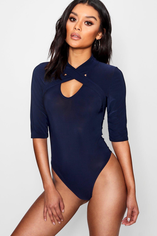 7e36d66f3663 Lyst - Boohoo Wrap Detail High Neck Bodysuit in Blue
