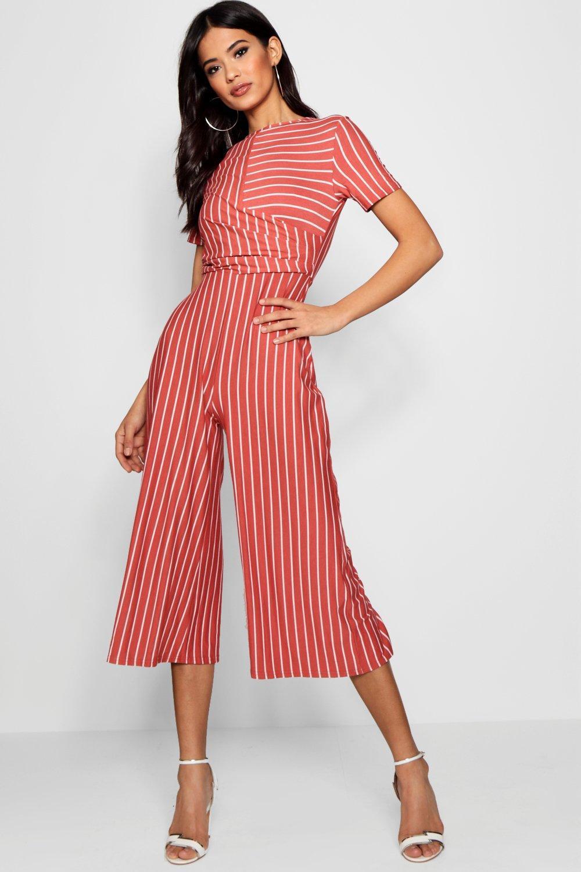 29f9f6b615 Lyst - Boohoo Striped Wrap Culotte Jumpsuit in Red