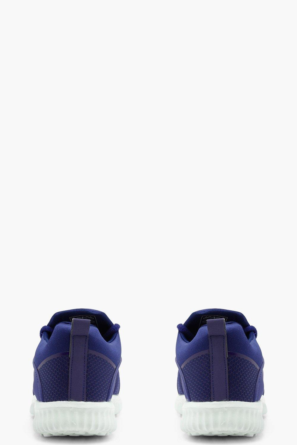 Boohoo Lacey Lace Up Sports Trainer in Navy (Blue)