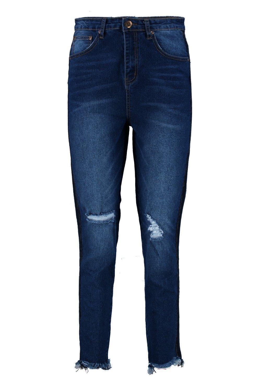 Boohoo Denim Hatty High Rise Two Tone Stripe Boyfriend Jeans in Indigo (Blue)