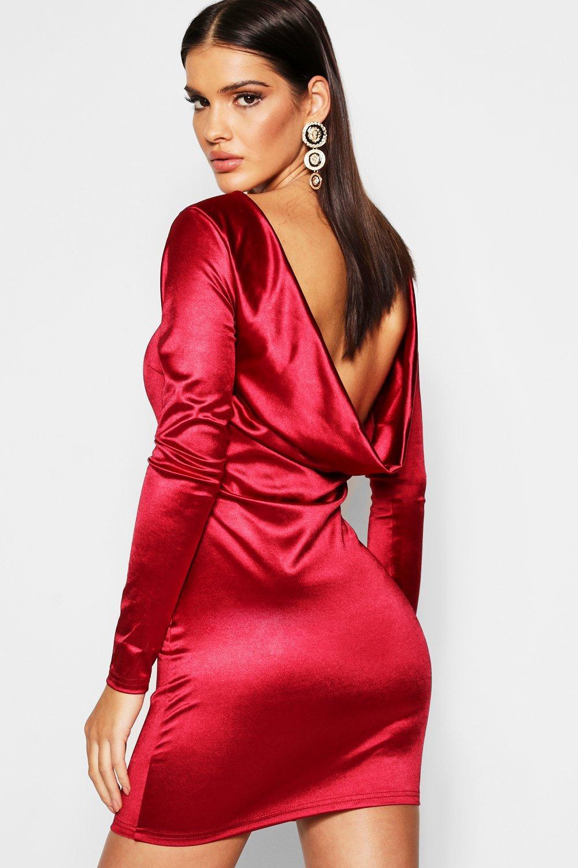99b198582b9 Lyst - Boohoo Satin Cowl Back Long Sleeve Mini Dress in Red
