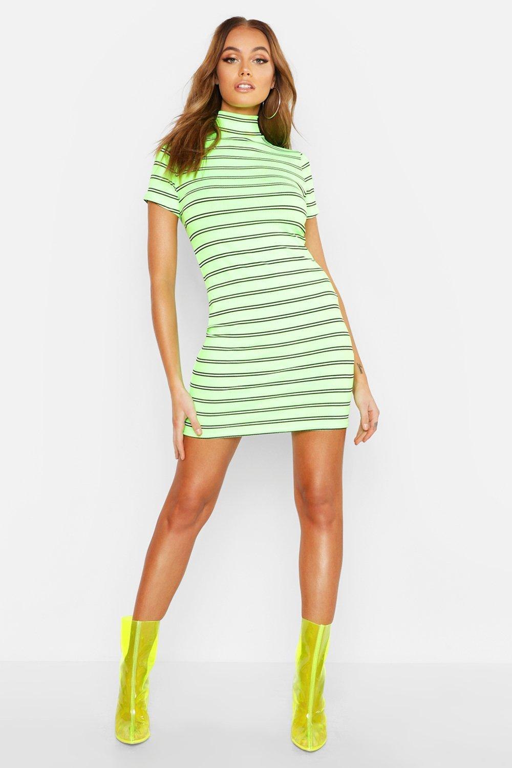 Boohoo ribbed bodycon dress with high neck in neon green