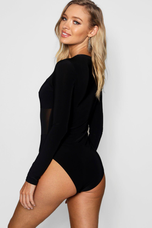 012ad0fe94 Lyst - Boohoo Square Neck Mesh Panel Bodysuit in Black