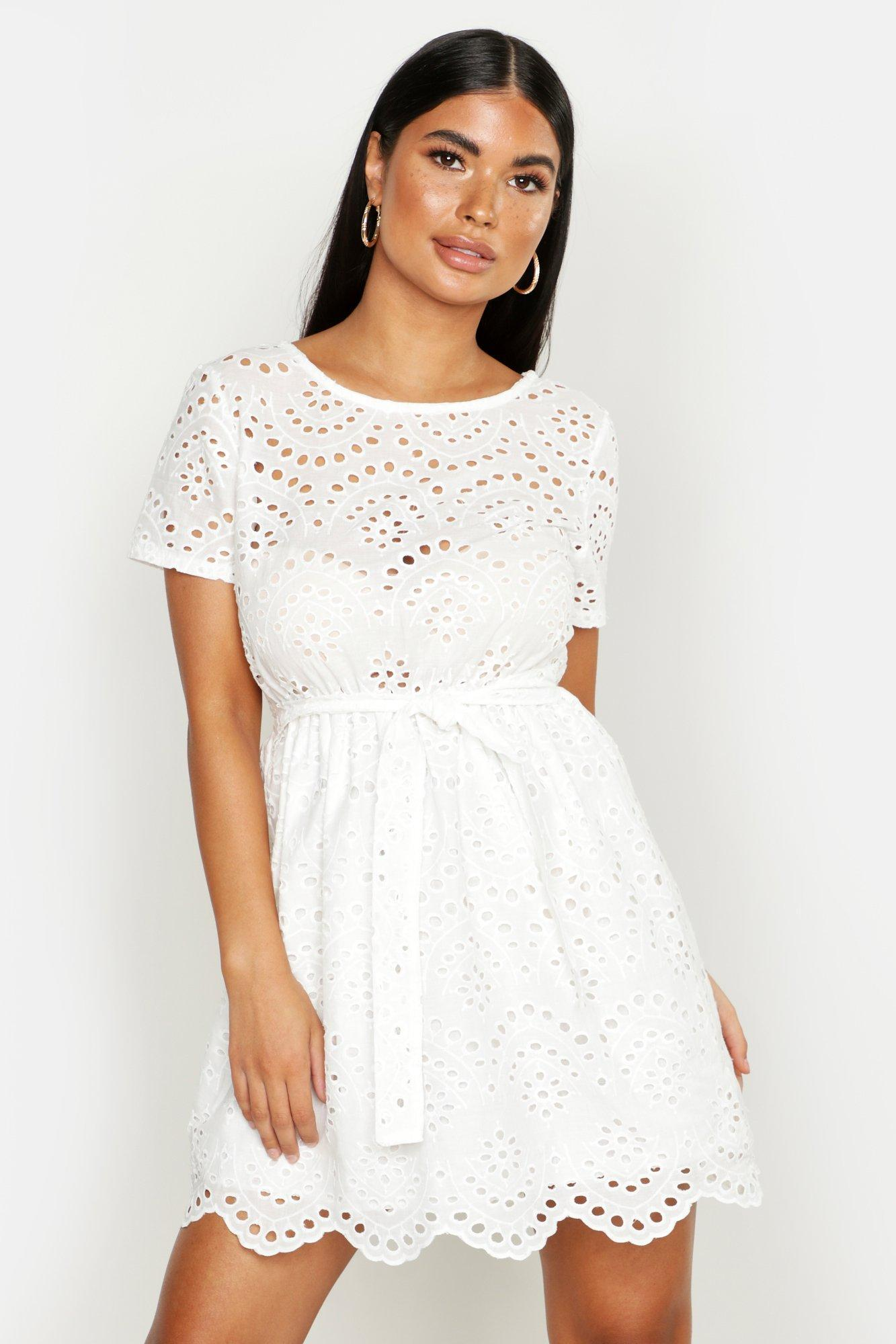 3bdf48bdb382f Boohoo Petite Broderie Anglaise Skater Dress in White - Lyst