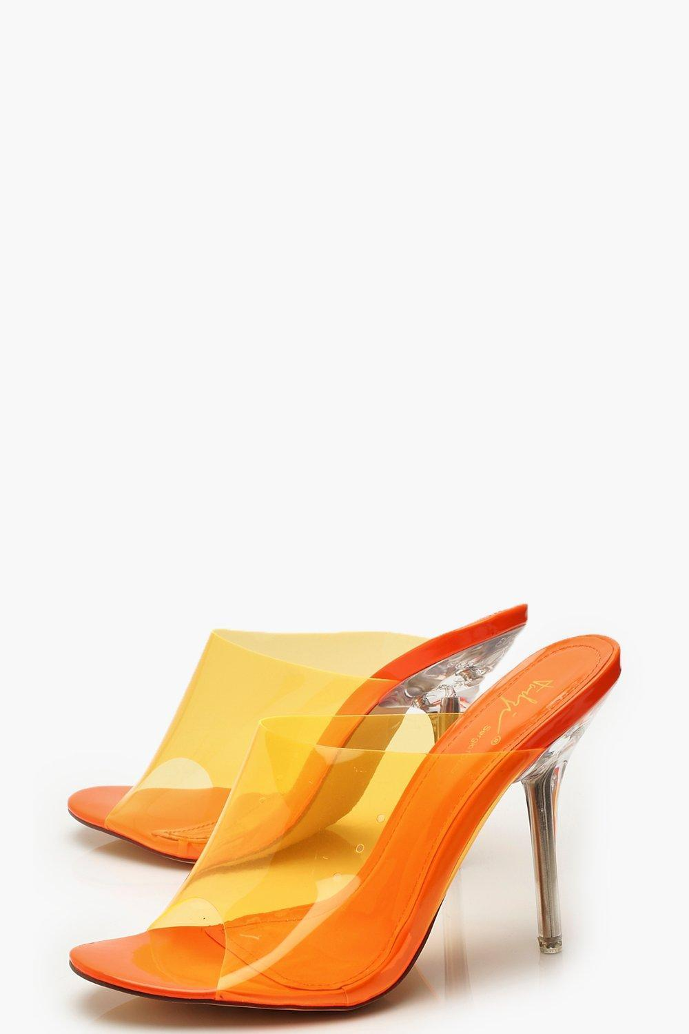 486bb681ad8b Boohoo - Orange Clear Heel Peeptoe Mules - Lyst. View fullscreen