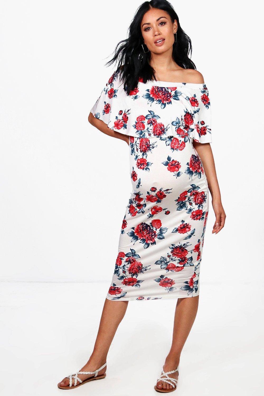 Lyst boohoo maternity ella off the shoulder floral midi dress gallery ombrellifo Image collections