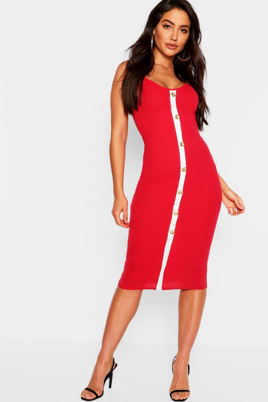 5f40808d37569 Lyst - Boohoo Midi Rib Knit Dress With Pearl Button in Red