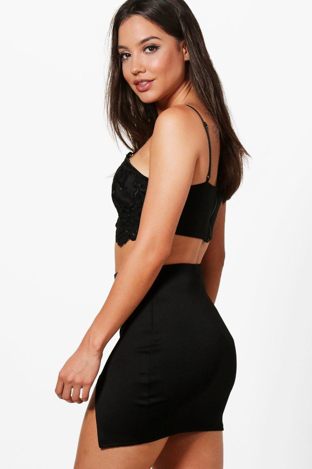 Boohoo Synthetic Thigh Split Scuba Mini Skirt