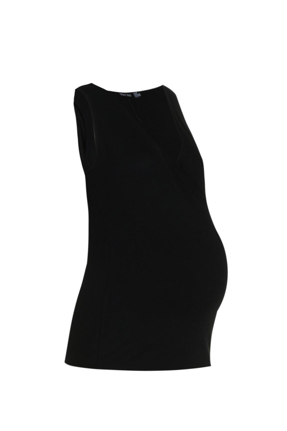 Boohoo Synthetic Maternity Wrap Front Vest Top in Black