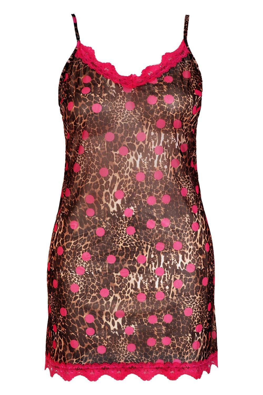 3244928004c8 Boohoo - Brown Gemma Collins Chiffon Leopard Lace Trim Nightie - Lyst. View  fullscreen
