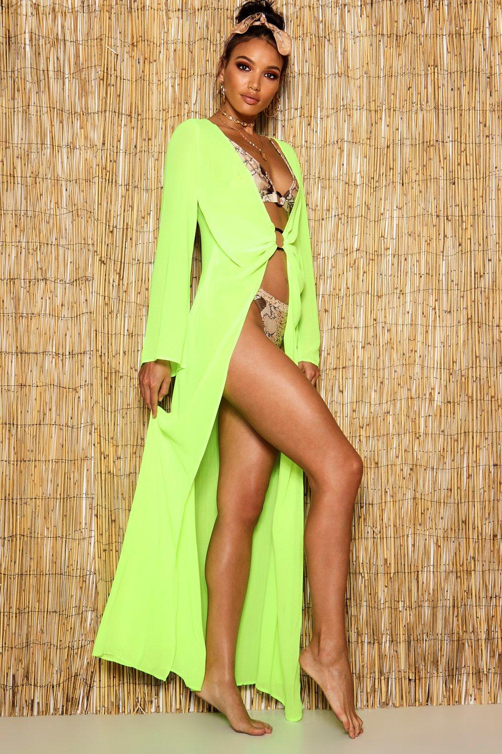 e1751bb20a6ab Boohoo Neon Ring Detail Maxi Beach Kaftan in Green - Lyst
