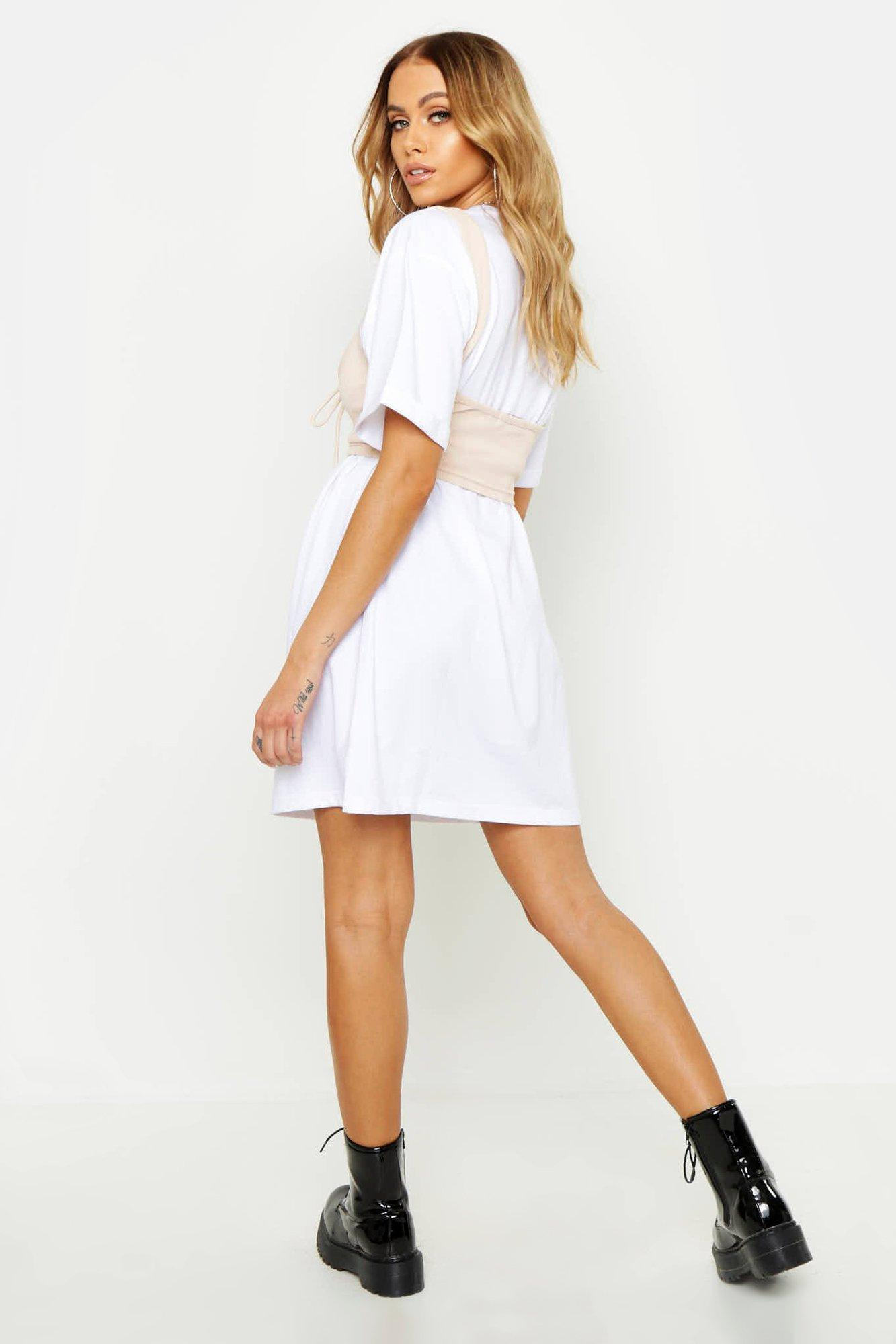 7880b1496c0 Boohoo - Black Corset Detail Oversized Cotton T Shirt Dress - Lyst. View  fullscreen