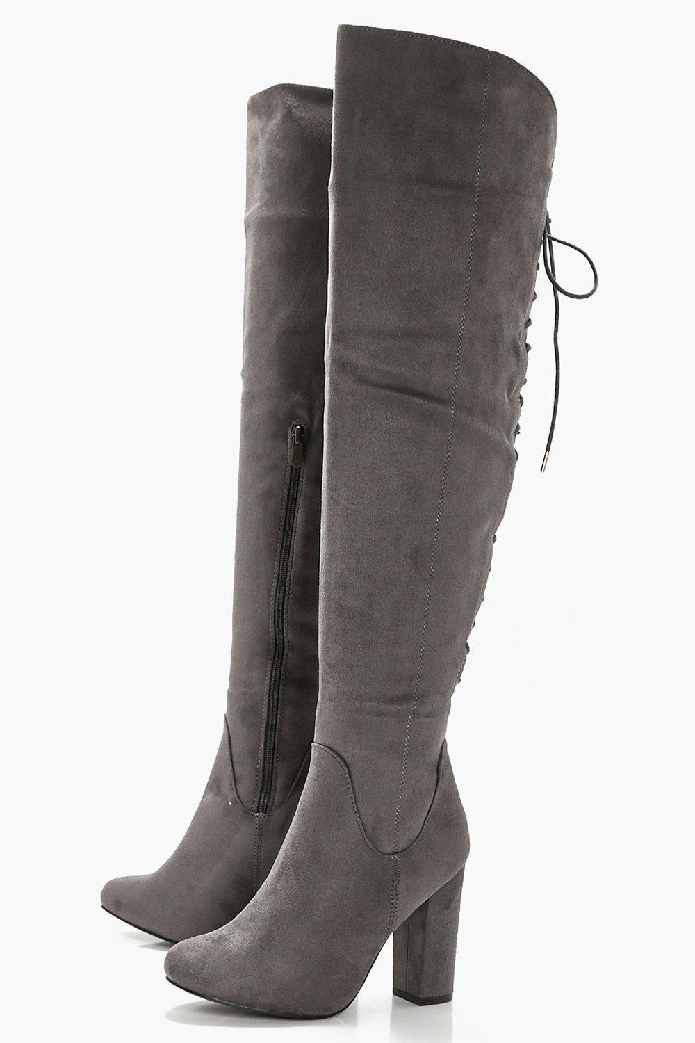 1c84314cc9b Boohoo Lace Back Block Heel Over The Knee Boots in Gray - Lyst
