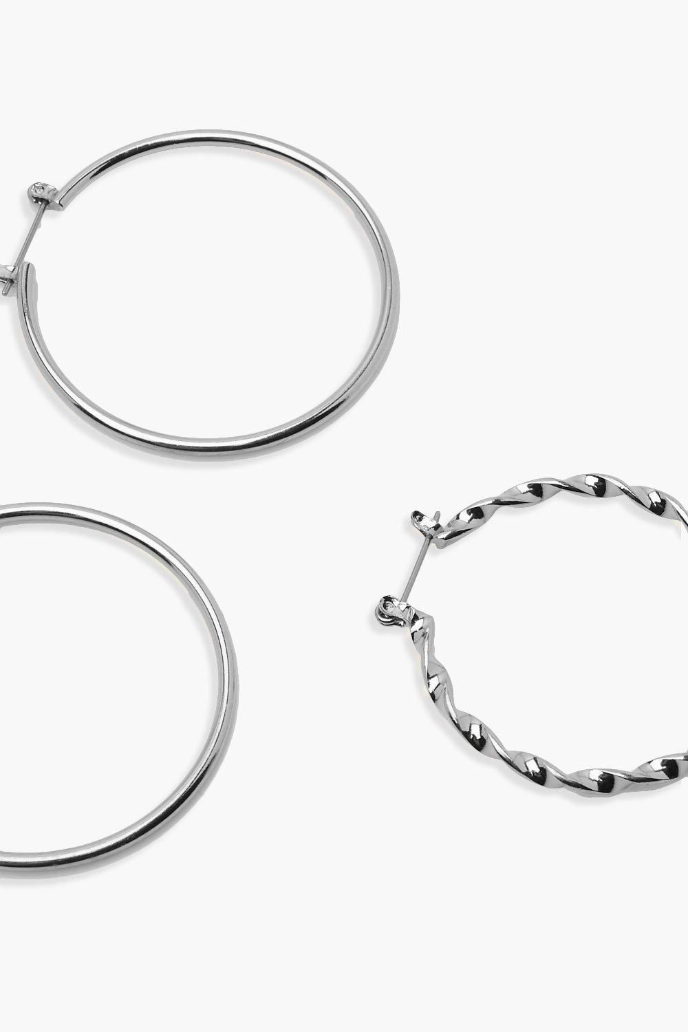 Boohoo Abbie Twisted And Plain Mixed Hoop 3 Pack in Silver (Metallic)