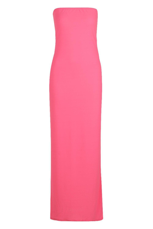 Boohoo Neon Bandeau Maxi Dress in Pink