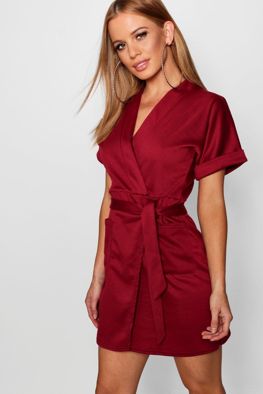 3c76ca9249d3 Boohoo Petite Obie Tie Wrap Dress in Red - Lyst