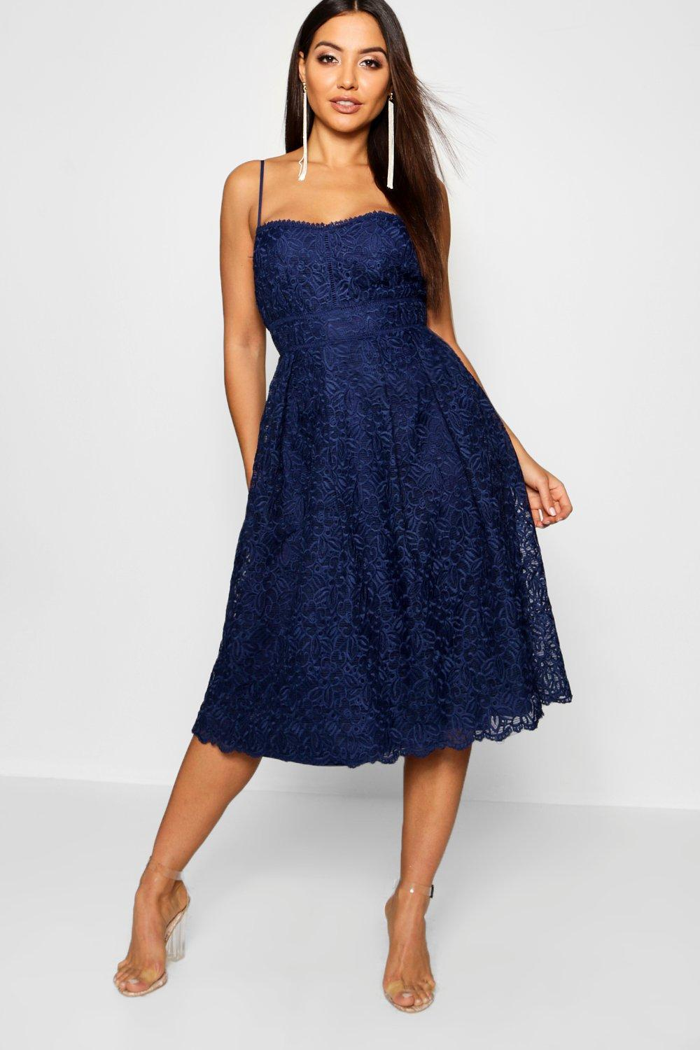 Boohoo Boutique Embroidered Strappy Midi Skater Dress in Blue - Lyst 2a4f5153e