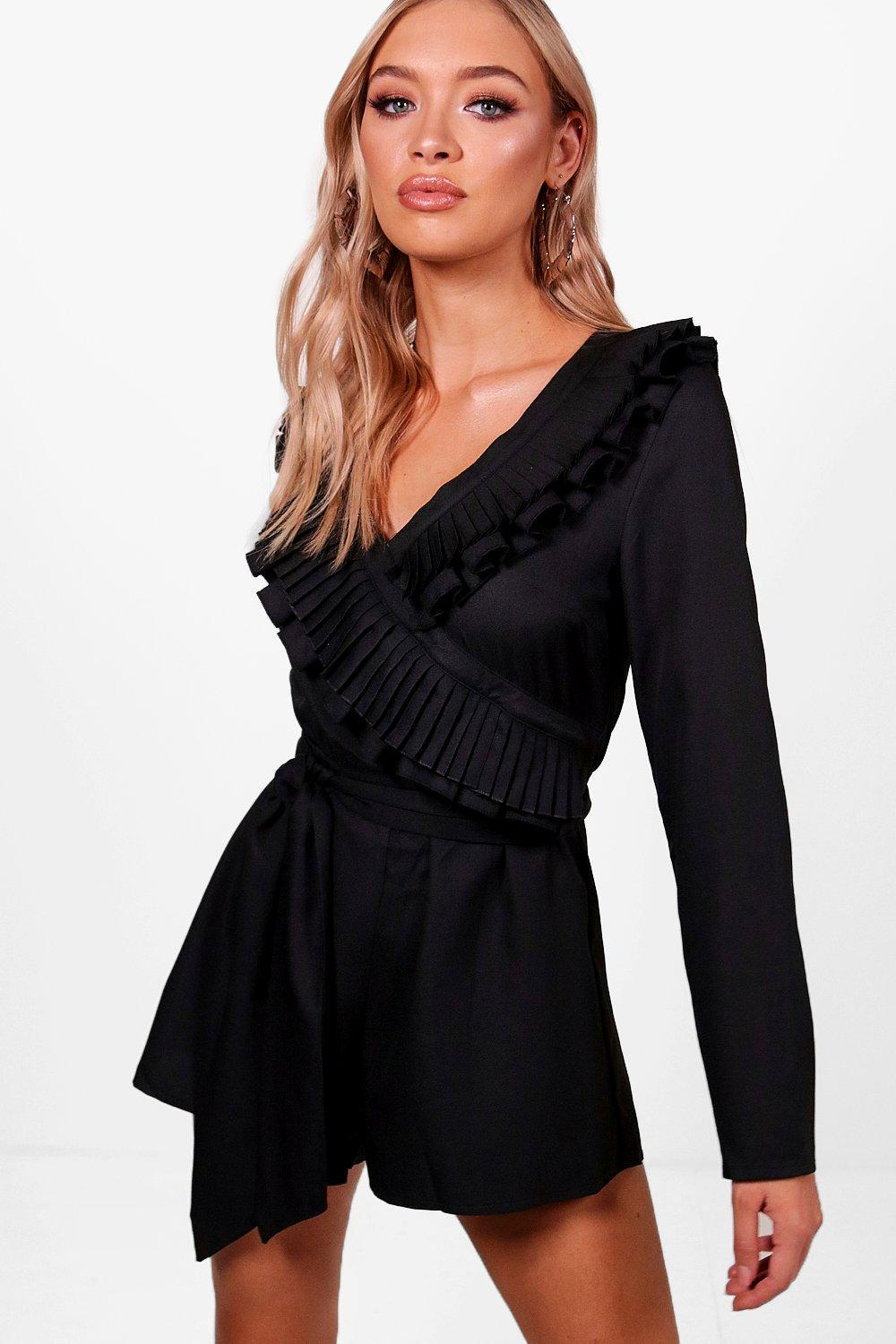 a928cbcd33be Lyst - Boohoo Ruffle Wrap Over 3 4 Sleeve Playsuit in Black