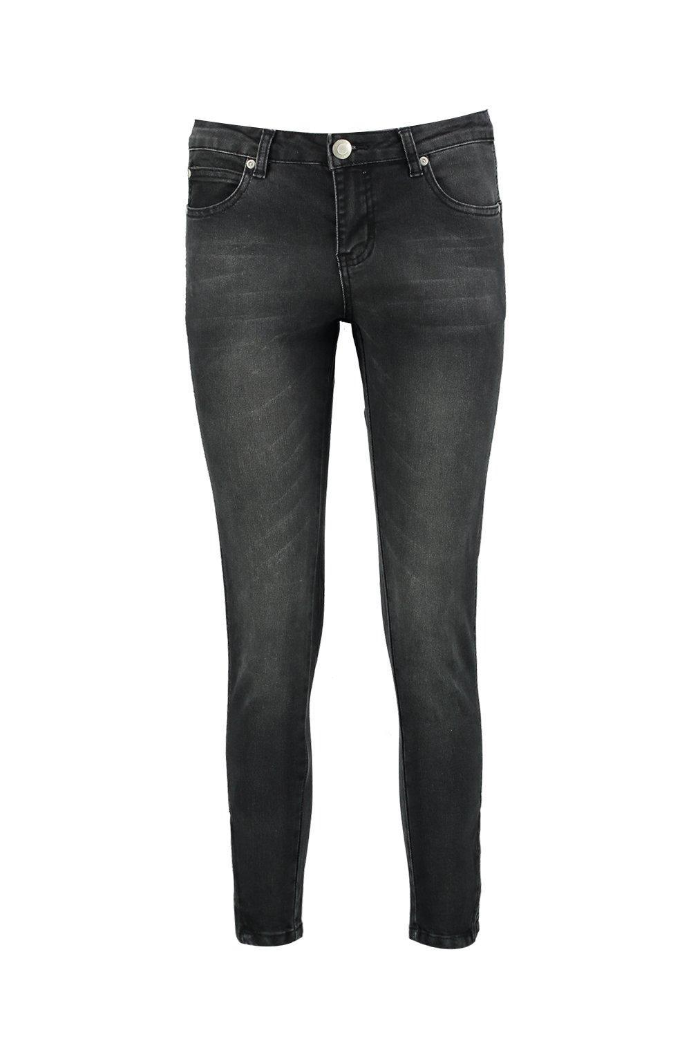 Boohoo Denim Tanya Twisted Zip Seam Mid Rise Skinny Jeans in Black