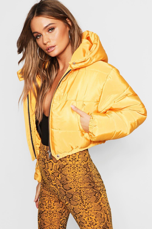 e9f35014b2d9e Boohoo Crop Hooded Puffer Jacket in Yellow - Lyst