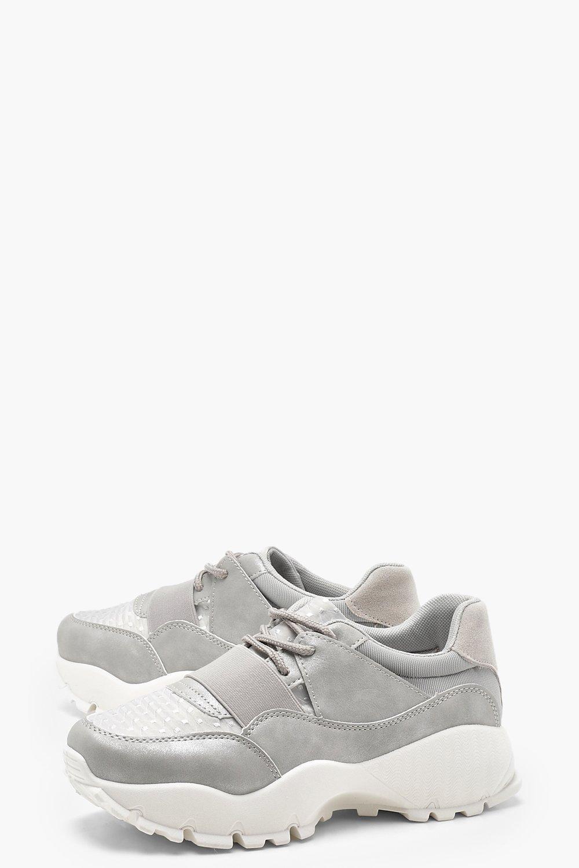 Boohoo Elastic Strap Chunky Trainers in Grey (Grey)
