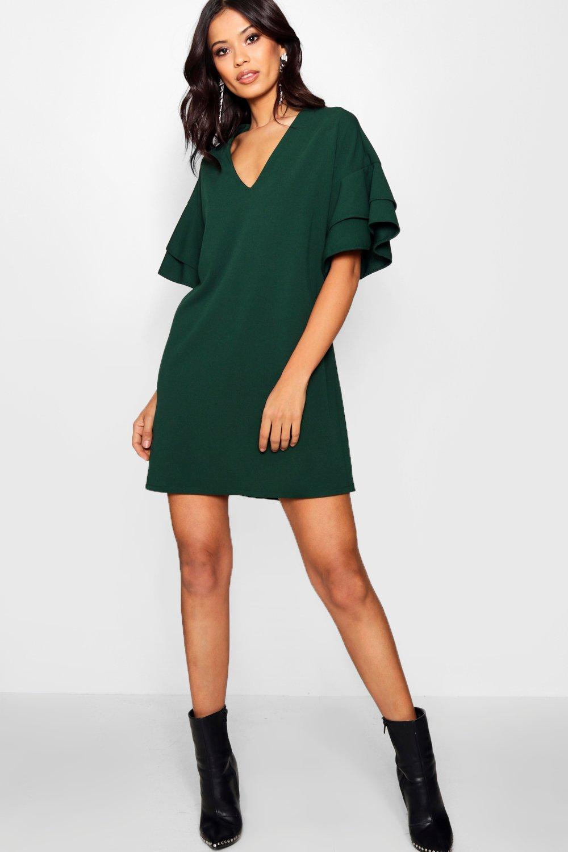 c831fe79b3f7 Lyst - Boohoo Woven Ruffle Sleeve Shift Dress in Green