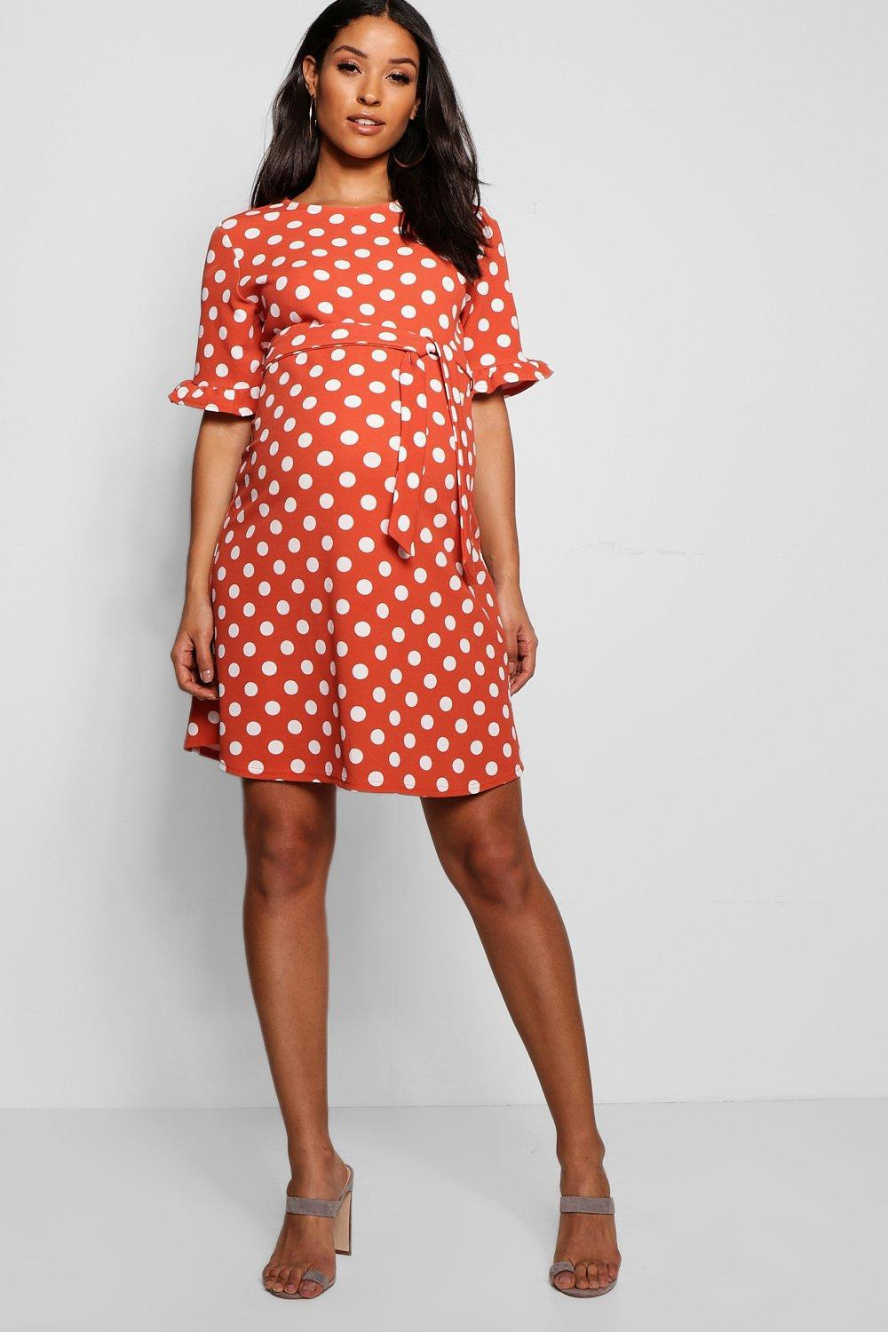 15b2ee00e919 Boohoo Maternity Spot Print Ruffle Smock Dress in Red - Lyst