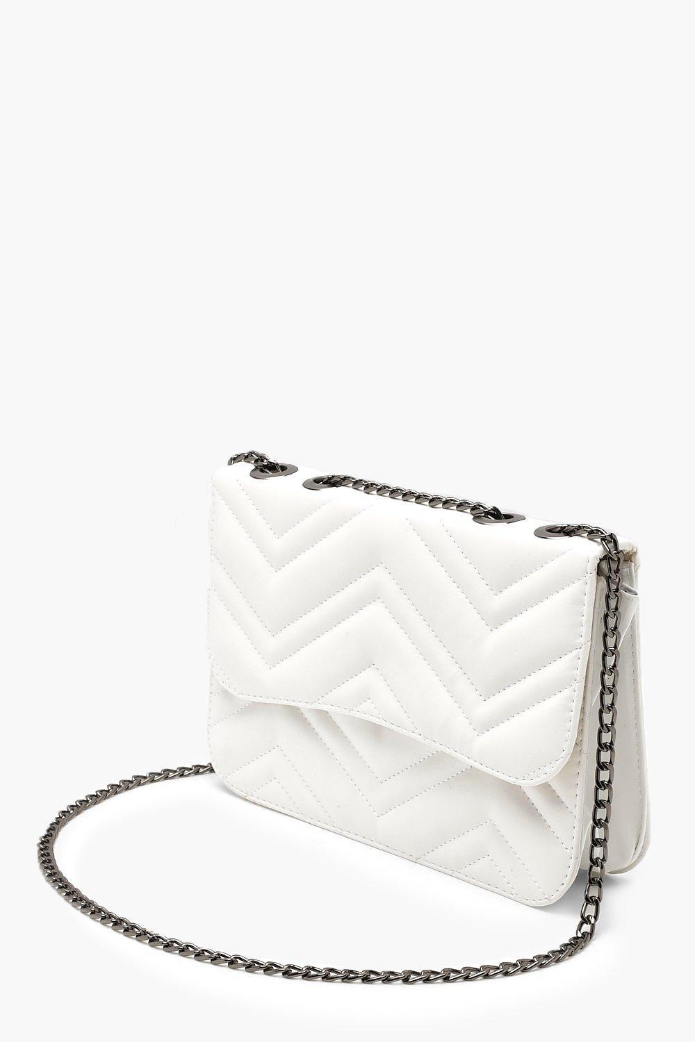 78f58673b90b Lyst - Boohoo Zig Zag Quilted Pu Chain Strap Cross Body in White