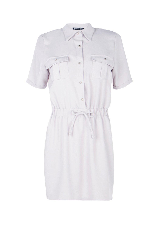 Lyst - Boohoo Daisy Tie Waist Shirt Skater Dress d8c3d9884