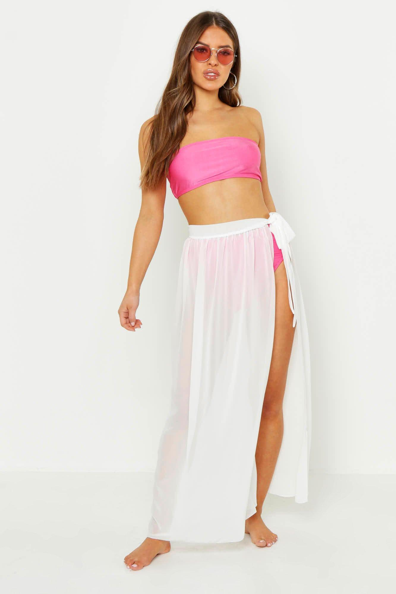 7b2f081b7bea43 Boohoo Petite Chiffon Beach Wrap Maxi Skirt in White - Lyst
