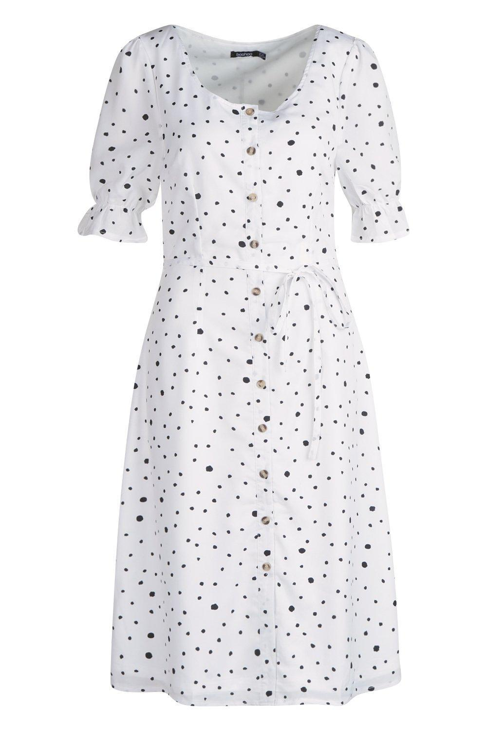 2df64582a35 Lyst - Boohoo Dalmatian Polka Dot Button Through Midi Dress in White