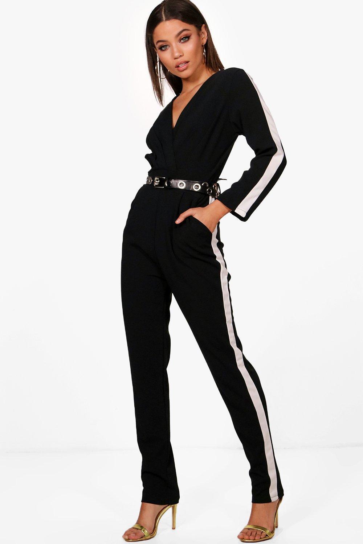 687abbf9f3e Boohoo Long Sleeve Sports Stripe Jumpsuit in Black - Lyst