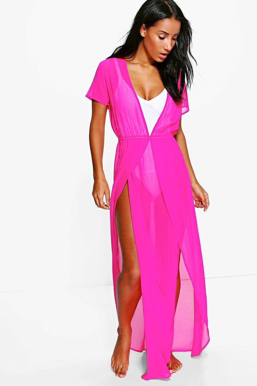 8cb1b29f6f4f1 Lyst - Boohoo Split Leg Maxi Beach Kaftan in Pink